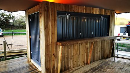 Portable Spaces pop-up kiosk - with wood cladding