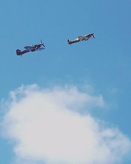 A Spitfire and a Hurricane were spotted over RAF Coltishall on Wednesday.