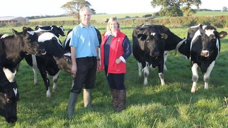 William and Alex Wales, with some of their herd at Binham.
