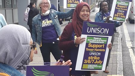 Protest by staff on strike at council housing department in Roman Road July2020