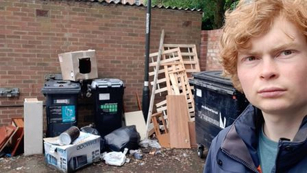 Mancroft ward councillor Jamie Osborn ahead of the council clearing the fly-tipped waste