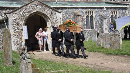 Tina Page's coffin leaving the church. Copyright