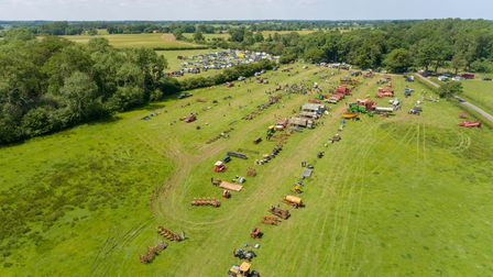 Aerial view of Buxton family machine auction at Park Farm in Heydon, near Aylsham