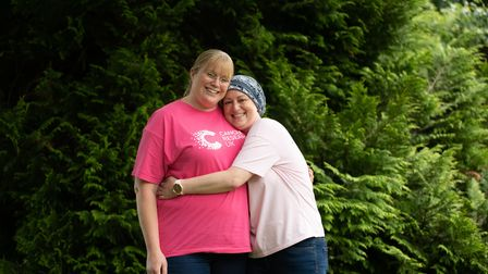 Rebecca Widdowson with her friend Alexis Clark, who has just finished her cancer treatment. Pictur