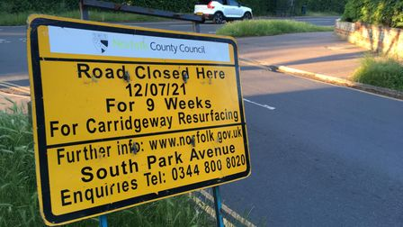 Norfolk County Council roadworks signs on South Park Avenue.
