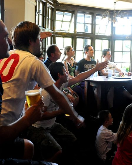 NEWS PICTURE ANDY ABBOTT 27.6.10 Euphoria and despair at the Spread Eagle public house in Bury S
