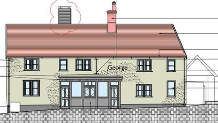 Amended plans for The George pub in Wickham Market, with extract chimney added