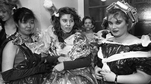 Members of the Art school dressed in bin bag dresses, comlete with tin foil curlers Picture: JOHN