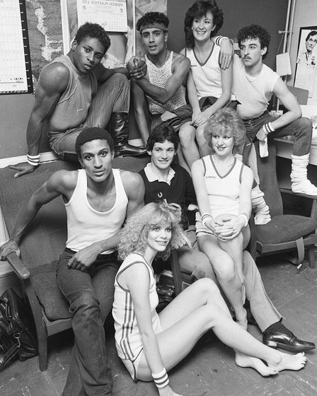 Ipswich Town star George Burley backstage of the Sports Fashion Show in 1982
