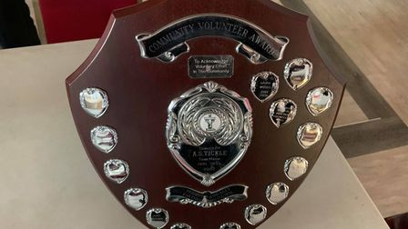 Themayor's community award shield given to the winners of the award.