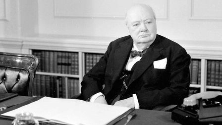 Sir Winston Churchill in the cabinet room at 10 Downing Street. Wartime premier Churchill's concer