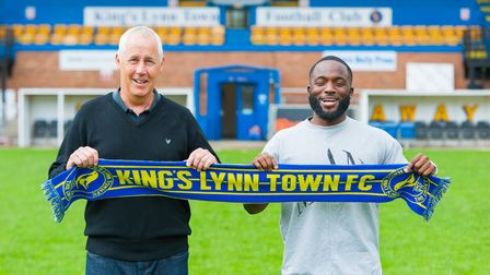 Lynn's new signing, Junior Morias with the manager, Ian Culverhouse. Picture: Ian Burt