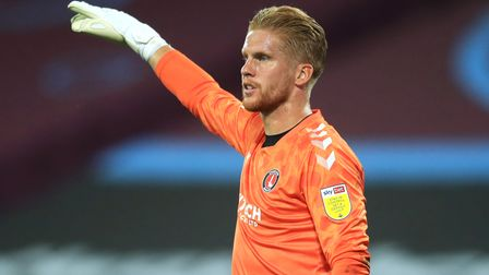 Charlton Athletic goalkeeper Ben Amos during the Carabao Cup second round match at the London Stadiu