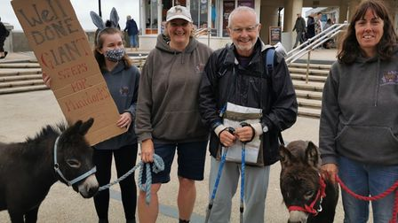 Ian Hÿtch arrived at Cromer to be greeted by Donkeys Bo-Peep and Milly.
