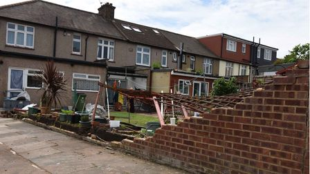 """The Barking """"tornado"""" completely destroyed this wall in Shirley Gardens, Barking."""