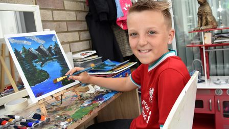 Stanton schoolboy Charlie Swales aged 11 loves to create painting which he gives to family and friends