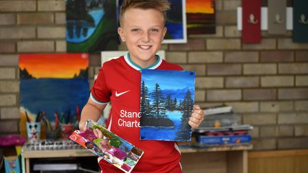 Charlie Swales, 11, loves creating paintings to give to family and friends