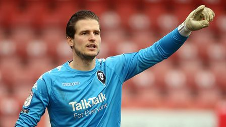 Salford City goalkeeper Vaclav Hladky during the Sky Bet League Two match at the Jonny-Rocks Stadium