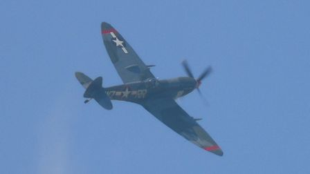 Aircraft paying their own tribute to John Mountain included a Spitfire from Biggin Hill and a Piper Cub.