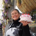Anne Falgate, Cupcake & Co owner in Upper St Giles, with the floral inspired creation at the shop fo