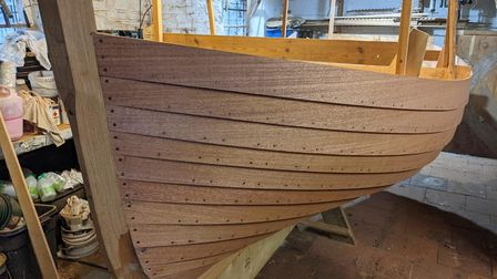 A 12ft clinker dinghy that Tom Curtis is currently building