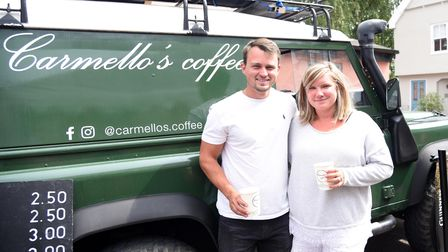 Kylie and Jack Baker of Carmellas Coffee. The Angel pub host first Woodbridge festival event Pictur