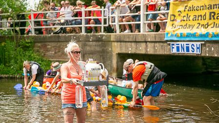 Scenes for Active Fakenham's community day in 2019, which includes the duck race.