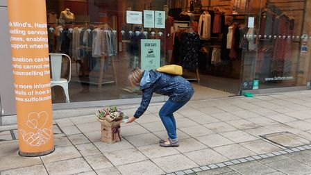 Flowers left at the arc shopping centre in Bury St Edmunds