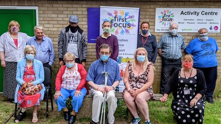 Clarissa Belson with First Focus service users outside their centre on Oak Streek in Fakenham.