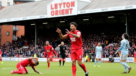 Leyton Orient's Macauley Bonne reacts after his goal is ruled offside during the Vanarama National L