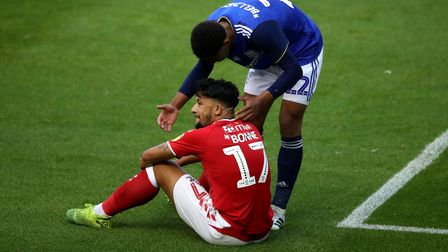 Birmingham City's Jude Bellingham (right) consoles Charlton Athletic's Macauley Bonne during the Sky
