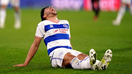Queens Park Rangers' Macauley Bonne reacts after going down with a injury during the Sky Bet Champio