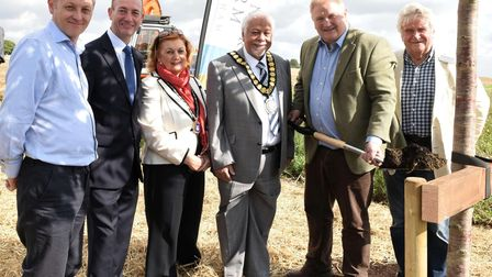 Breaking new ground at Manor Farm, Stretham. Pictured l-r are Development Manager of Laragh Homes, P