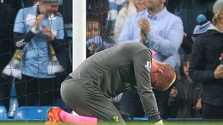 John Ruddy cuts a dejected figure after the final whistel. Picture: Paul Chesterton/Focus Images Ltd