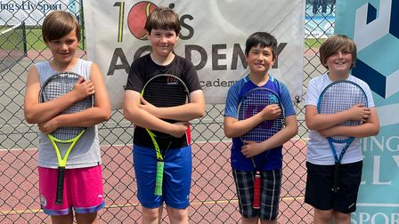 10is Academy overcomes Bourn Tennis Club to win Cambridgeshire National League match. The 12U boys team is pictured.