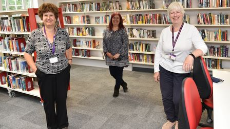 Saxmundham Library reopens in new premises.L- R Helen Scrivener, executive library manager, Jack No