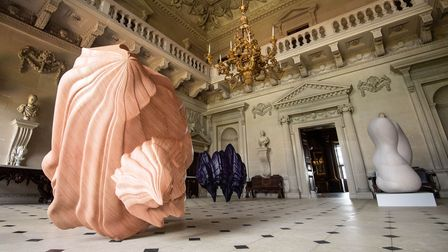 Sculptures in an ornate room at Houghton Hall
