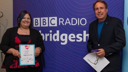 Lola Howell, managerof The Maltings, with BBC Radio Cambs' Chris Mann.