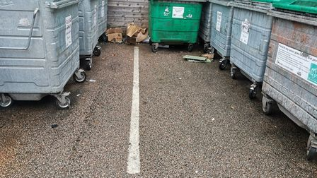 The bottle bank on Fore Sreet, Framlingham after it was cleared by East Suffolk District Council