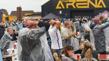 Football fans watching the England v Germany Euros game at The Arena in Sprowston. Picture: Danielle