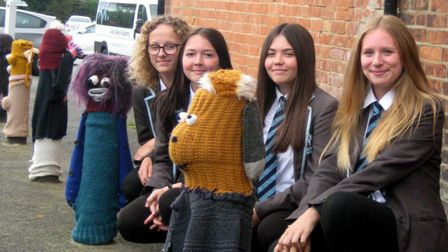 Mia, Tegan, Jasmine & Alana with some of the knitted creations in Leiston
