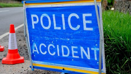 Police were called to the A1066 east of Thetford after a two-car crash.