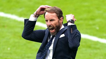 England manager Gareth Southgate celebrates his side's second goal of the game, scored by Harry Kane