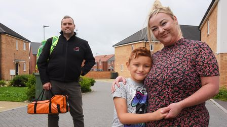 Nine-year-old Archie Nelson and his mum, Kayleigh Hurren, are reunited with NARS first responder, St