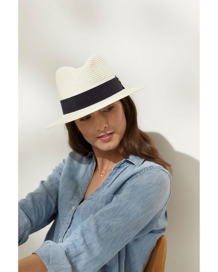 The Aldeburgh Fedora (Cream/Black) by Hicks and Brown, £65