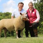ElizabethBarber and Mitchel Britten with their Charollais ram lamb named Cavick What A Boy