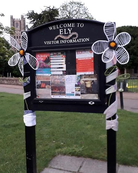 Colourful installations were presented by Ely City WI on Palace Green and St Mary's Green in Ely.