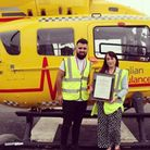 Will Fiske, from Framlingham, with nurse Debbie Lavender, who helped save his life.
