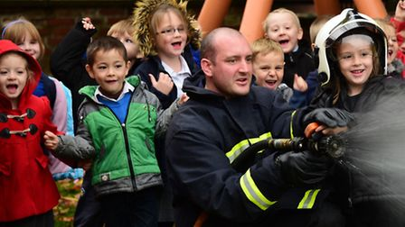 Children at the West Earlham Infant School meet Fireman Sam and learn about fire safety. Fire safety