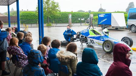 Pupils at Clenchwarton Primary School had a special visit from racing driver Bill'Wom' Garner.